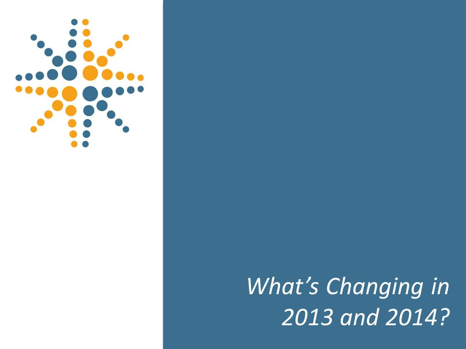 9 What's Changing in 2013 and 2014 9