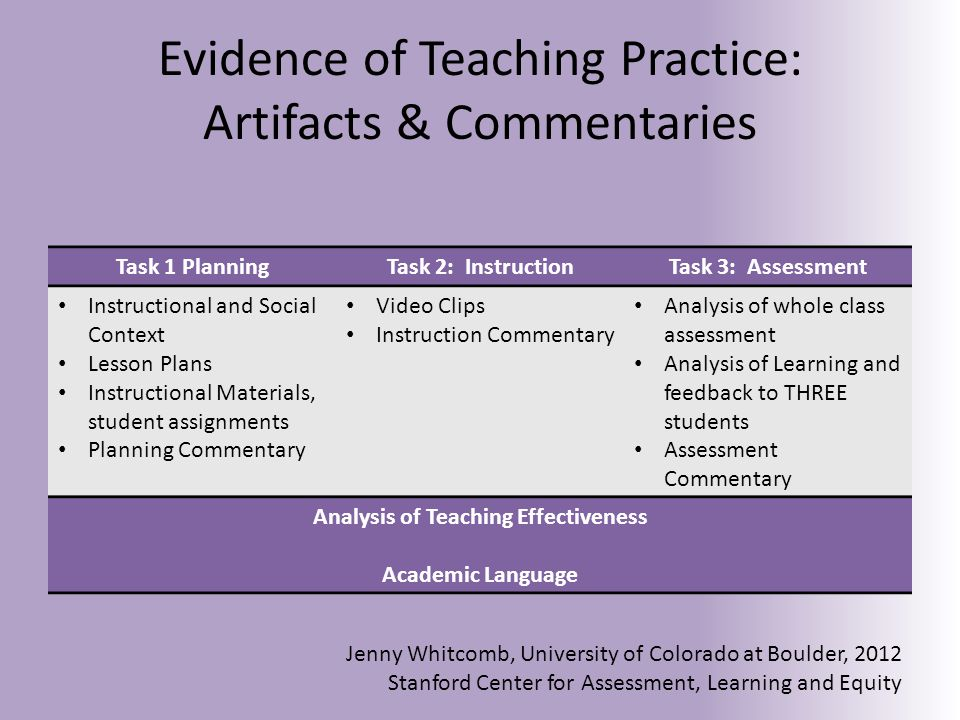 Evaluation Criteria and Rubrics 15 Rubrics Components of Teaching Practice ①Planning ①Instruction ①Assessment ①Analyzing Teaching ①Academic Language Jenny Whitcomb, University of Colorado at Boulder, 2012 Stanford Center for Assessment, Learning and Equity