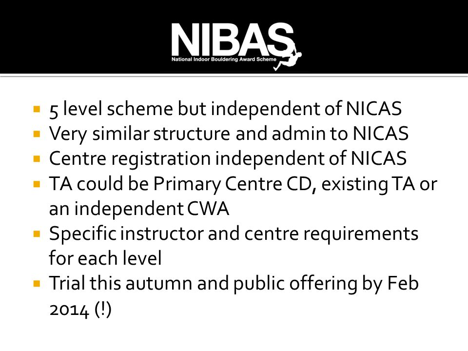  5 level scheme but independent of NICAS  Very similar structure and admin to NICAS  Centre registration independent of NICAS  TA could be Primary Centre CD, existing TA or an independent CWA  Specific instructor and centre requirements for each level  Trial this autumn and public offering by Feb 2014 (!)