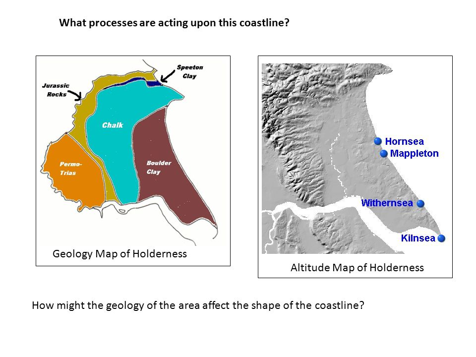 How might the geology of the area affect the shape of the coastline.