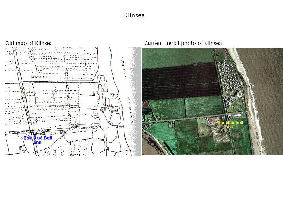 Kilnsea Old map of KilnseaCurrent aerial photo of Kilnsea