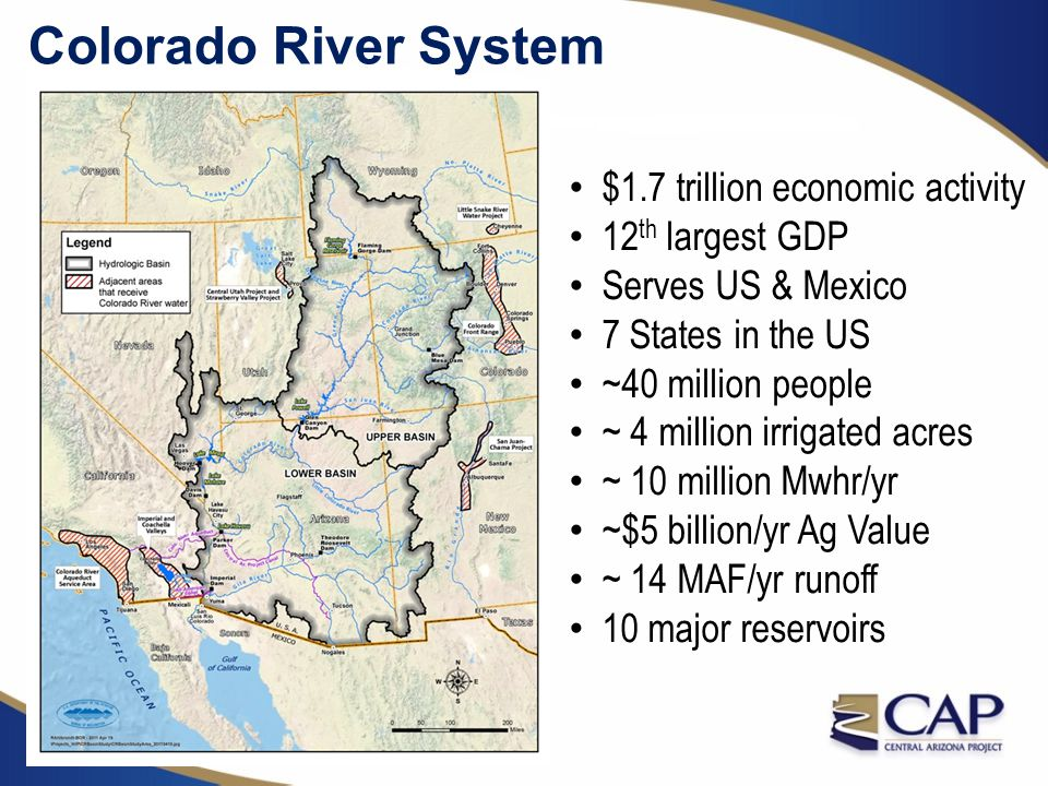 Law of the River Summary (items in red led to construction of CAP) 1922 Colorado River Compact 1928 Boulder Canyon Project Act 1944 Water Treaty 1948 Upper Basin Compact 1956 Colorado River Storage Project Act 1964 Arizona v.