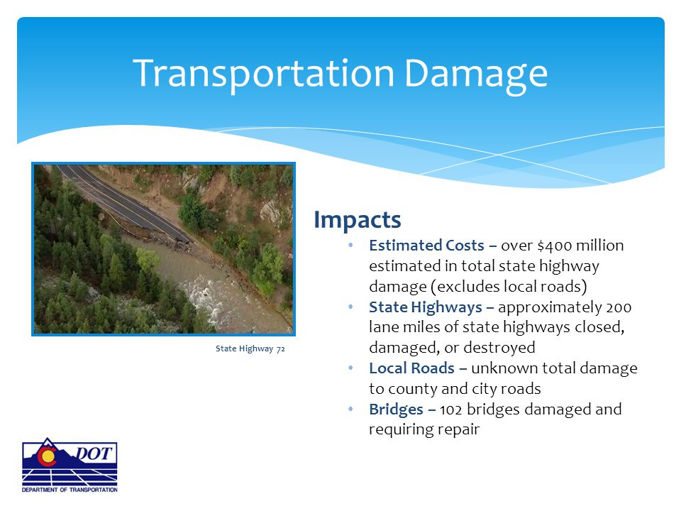 Transportation Damage Impacts Estimated Costs – over $400 million estimated in total state highway damage (excludes local roads) State Highways – appr