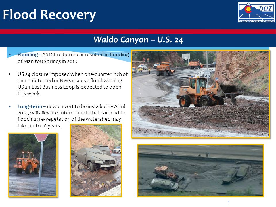 Flood Recovery Waldo Canyon – U.S. 24 Flooding – 2012 fire burn scar resulted in flooding of Manitou Springs in 2013 US 24 closure imposed when one-qu
