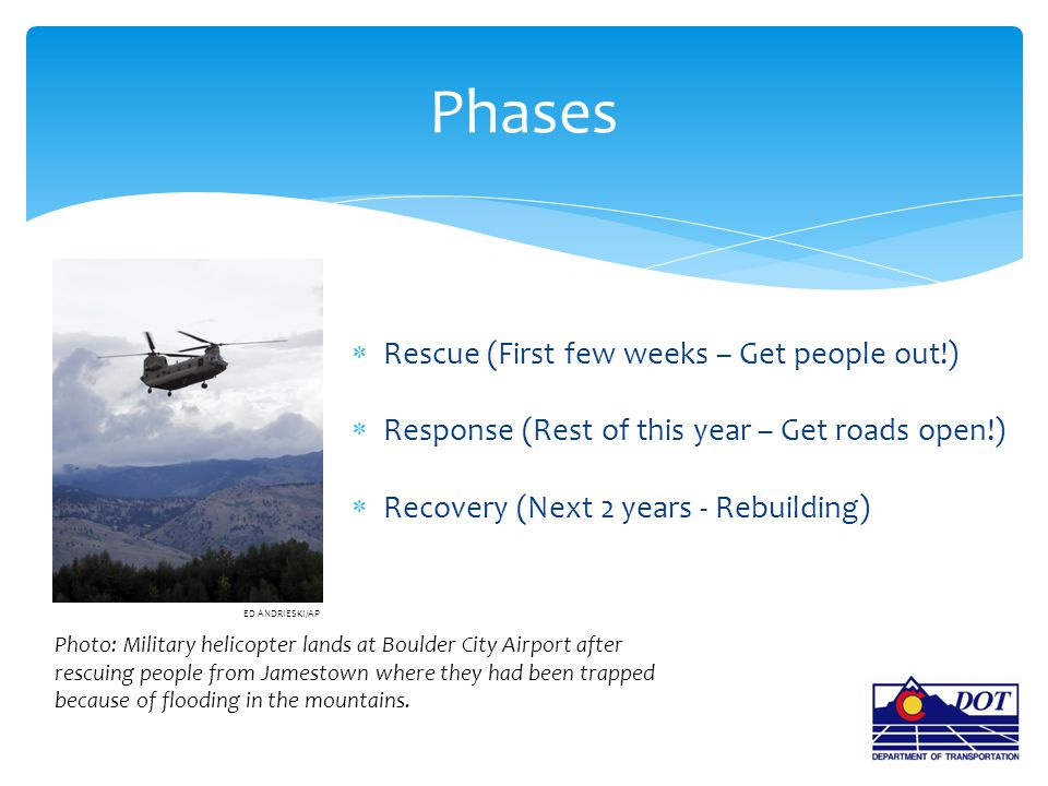  Rescue (First few weeks – Get people out!)  Response (Rest of this year – Get roads open!)  Recovery (Next 2 years - Rebuilding) Phases ED ANDRIES