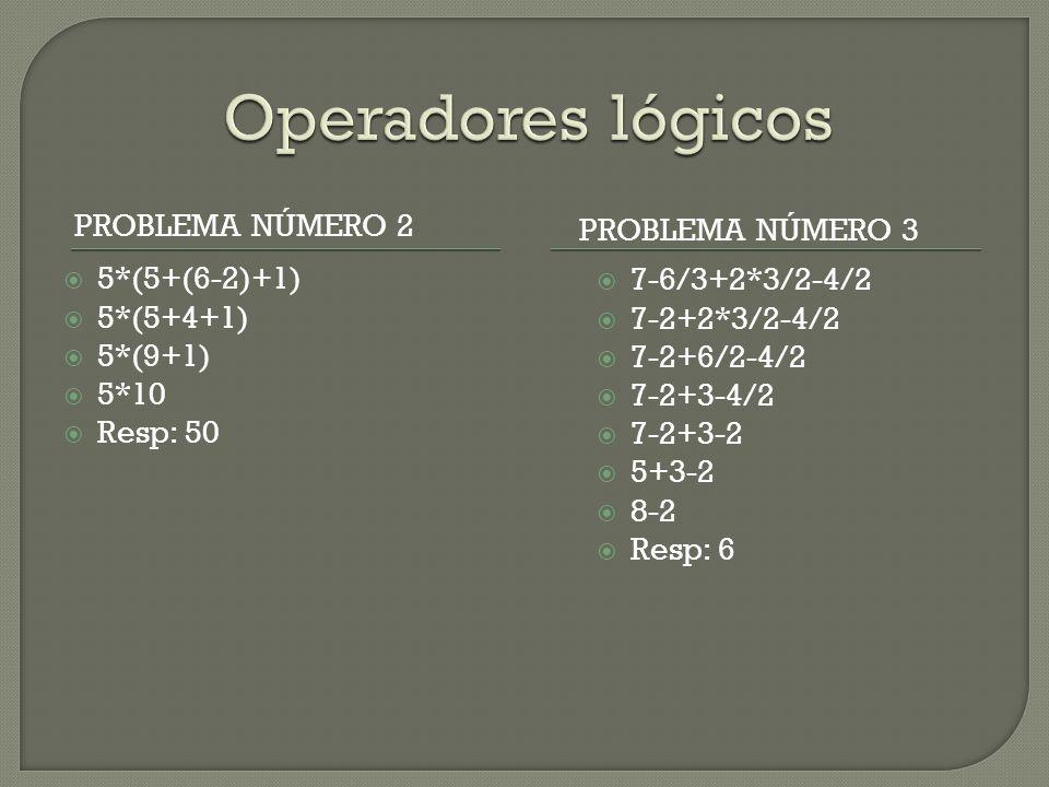 PROBLEMA NÚMERO 2 PROBLEMA NÚMERO 3  5*(5+(6-2)+1)  5*(5+4+1)  5*(9+1)  5*10  Resp: 50  7-6/3+2*3/2-4/2  7-2+2*3/2-4/2  7-2+6/2-4/2  7-2+3-4/2  7-2+3-2  5+3-2  8-2  Resp: 6