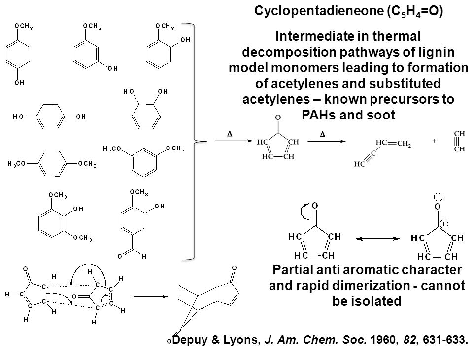 Intermediate in thermal decomposition pathways of lignin model monomers leading to formation of acetylenes and substituted acetylenes – known precursors to PAHs and soot Partial anti aromatic character and rapid dimerization - cannot be isolated Cyclopentadieneone (C 5 H 4 =O) Depuy & Lyons, J.