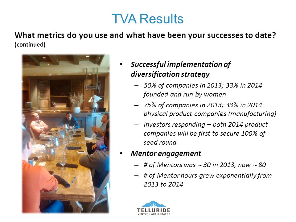 TVA Results Successful implementation of diversification strategy – 50% of companies in 2013; 33% in 2014 founded and run by women – 75% of companies in 2013; 33% in 2014 physical product companies (manufacturing) – Investors responding – both 2014 product companies will be first to secure 100% of seed round Mentor engagement – # of Mentors was  30 in 2013, now  80 – # of Mentor hours grew exponentially from 2013 to 2014 What metrics do you use and what have been your successes to date.