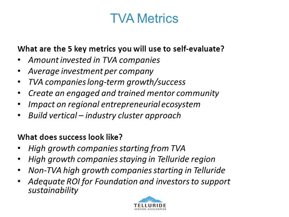 TVA Metrics What are the 5 key metrics you will use to self-evaluate.
