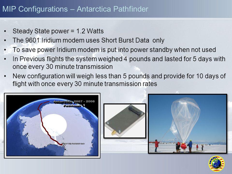 MIP Configurations – Antarctica Pathfinder Steady State power = 1.2 Watts The 9601 Iridium modem uses Short Burst Data only To save power Iridium mode