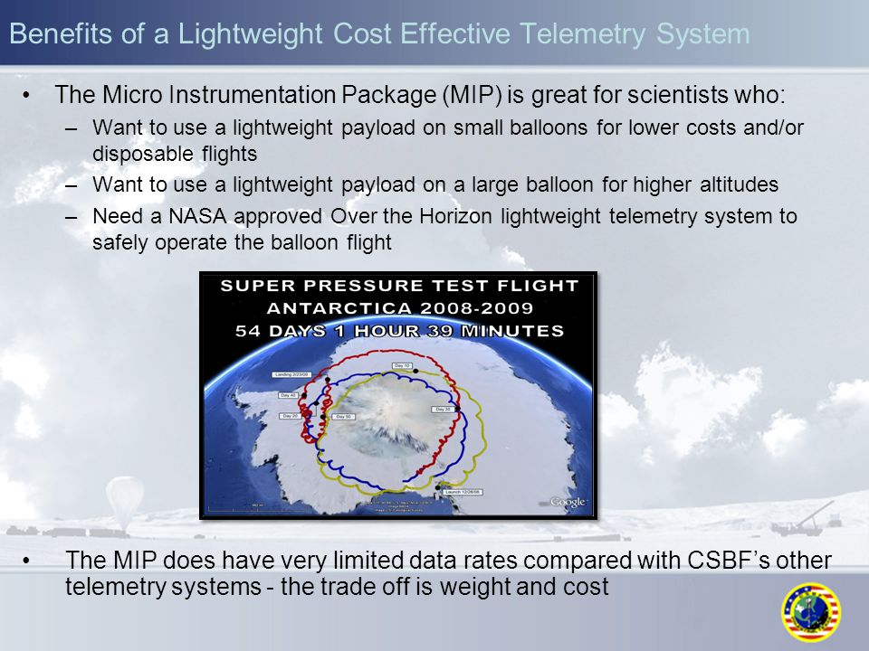 Benefits of a Lightweight Cost Effective Telemetry System The Micro Instrumentation Package (MIP) is great for scientists who: –Want to use a lightwei