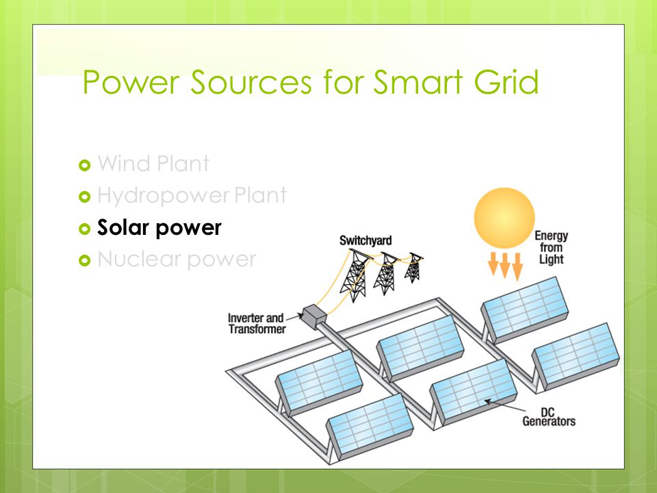 Power Sources for Smart Grid  Wind Plant  Hydropower Plant  Solar power  Nuclear power