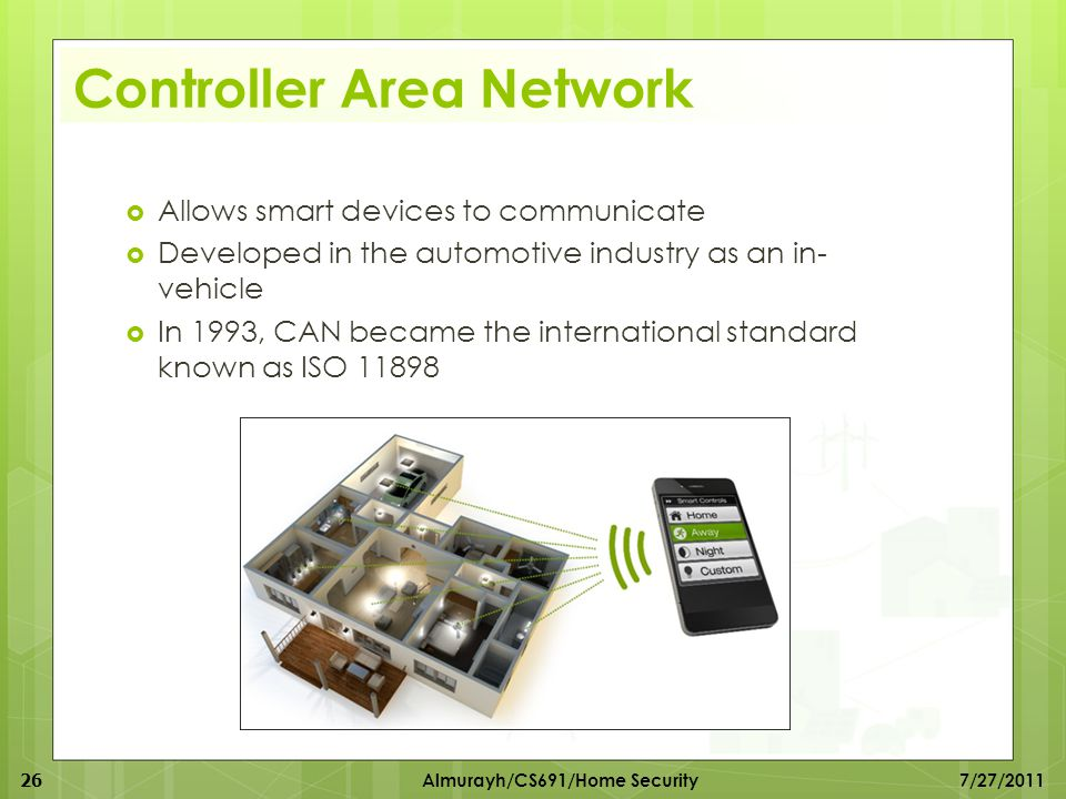 Controller Area Network  Allows smart devices to communicate  Developed in the automotive industry as an in- vehicle  In 1993, CAN became the inter