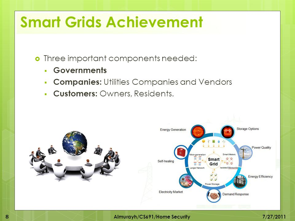 Smart Grids Achievement  Three important components needed:  Governments  Companies: Utilities Companies and Vendors  Customers: Owners, Residents