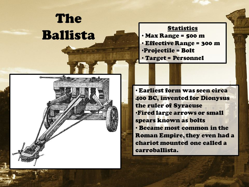 The Ballista Statistics Max Range = 500 m Effective Range = 300 m Projectile = Bolt Target = Personnel Earliest form was seen circa 400 BC, invented for Dionysus the ruler of Syracuse Fired large arrows or small spears known as bolts Became most common in the Roman Empire, they even had a chariot mounted one called a carroballista.