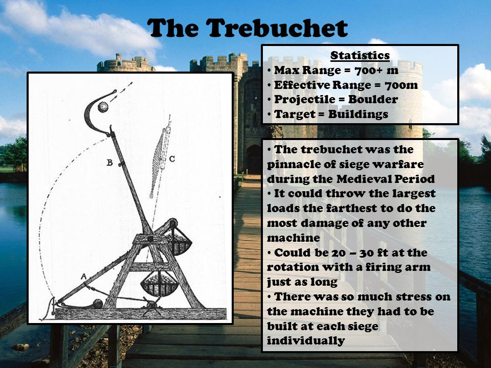 The Trebuchet Statistics Max Range = 700+ m Effective Range = 700m Projectile = Boulder Target = Buildings The trebuchet was the pinnacle of siege warfare during the Medieval Period It could throw the largest loads the farthest to do the most damage of any other machine Could be 20 – 30 ft at the rotation with a firing arm just as long There was so much stress on the machine they had to be built at each siege individually