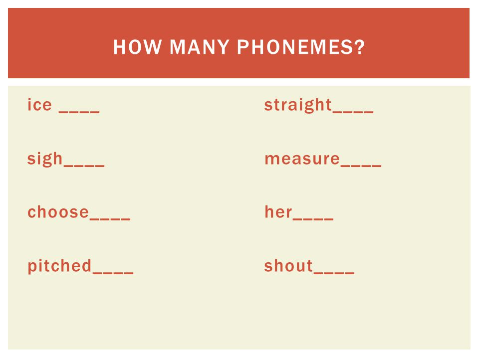 ice ____straight____ sigh____measure____ choose____her____ pitched____shout____ HOW MANY PHONEMES?