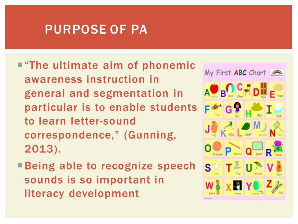 Phonological Awareness- Ability to discriminate and manipulate sounds orally.