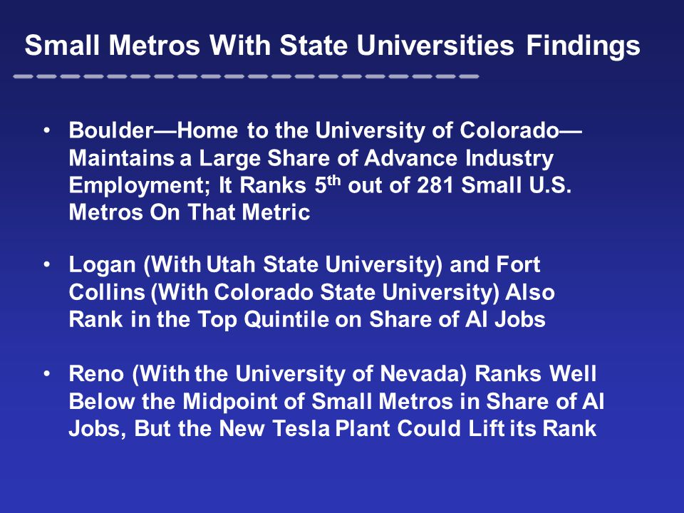 Small Metros With State Universities Findings Boulder—Home to the University of Colorado— Maintains a Large Share of Advance Industry Employment; It R