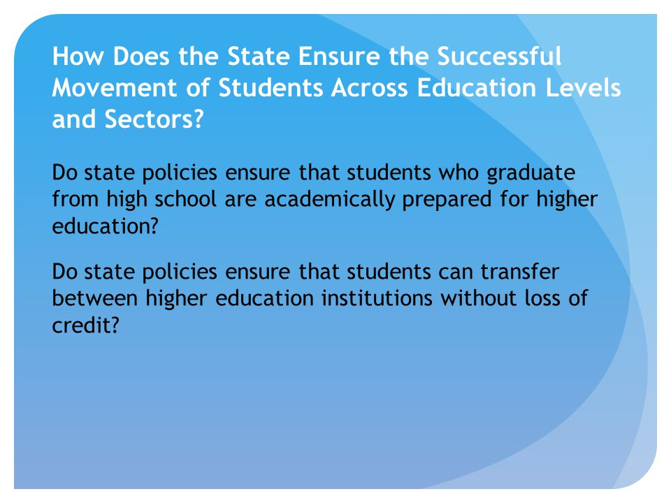 Do state policies ensure that students who graduate from high school are academically prepared for higher education? Do state policies ensure that stu