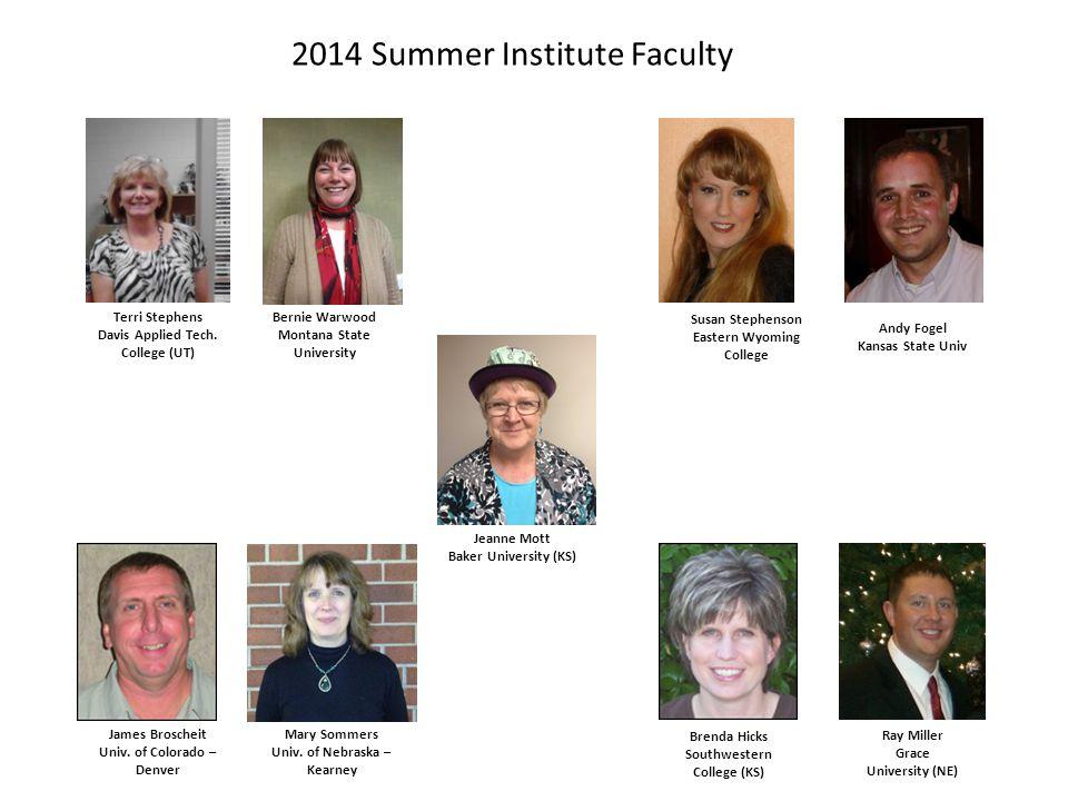 2014 Summer Institute Faculty Brenda Hicks Southwestern College (KS) James Broscheit Univ.