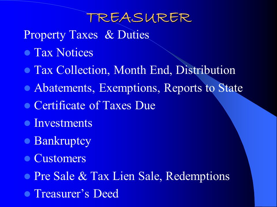 TREASURER'S CALENDAR 10 th of each month: Distribution January -Mail Tax Statements -Post Pre-Payments -1099's for redemption interest paid -Change in bank BOCC certification February -1 st Half Payment Due Postmarked February 28 th -Mail 1098 to IRS