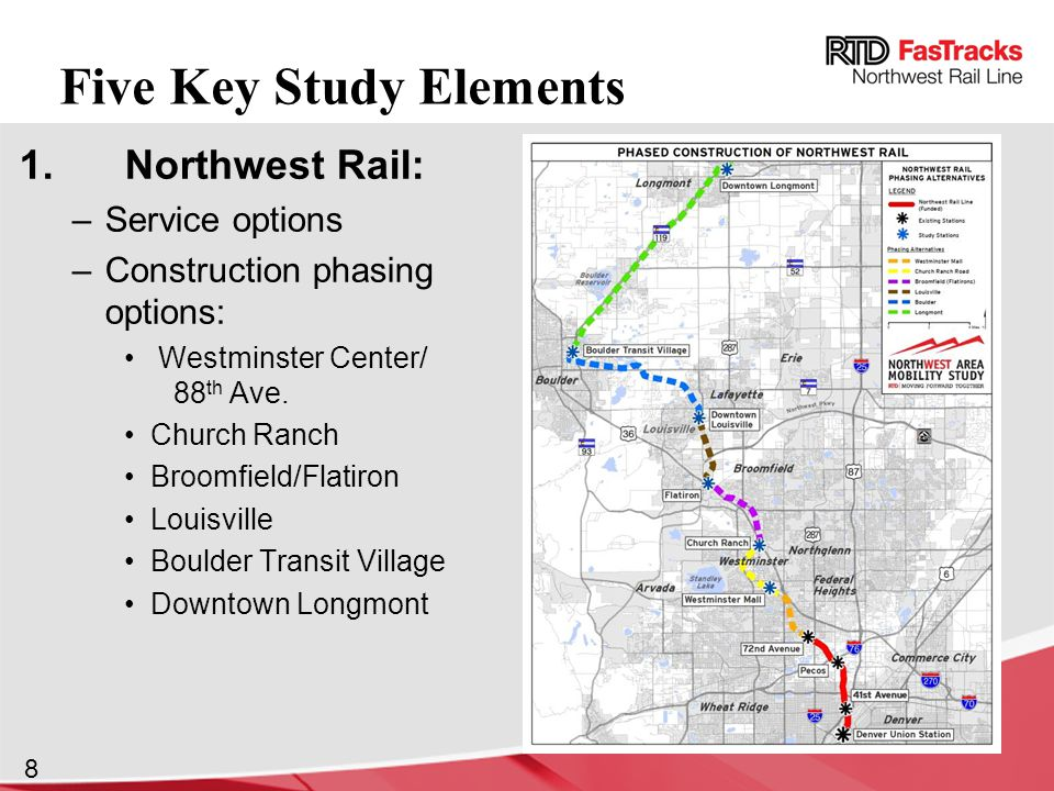 8 1.Northwest Rail: –Service options –Construction phasing options: Westminster Center/ 88 th Ave.
