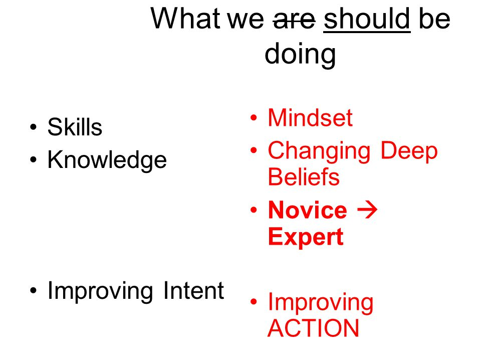 What we are should be doing Skills Knowledge Improving Intent Mindset Changing Deep Beliefs Novice  Expert Improving ACTION