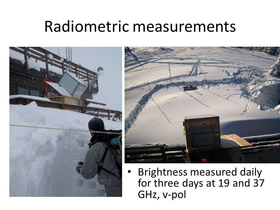 Radiometric measurements Brightness measured daily for three days at 19 and 37 GHz, v-pol