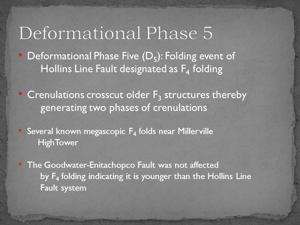 Deformational Phase Five (D 5 ): Folding event of Hollins Line Fault designated as F 4 folding Crenulations crosscut older F 3 structures thereby generating two phases of crenulations Several known megascopic F 4 folds near Millerville HighTower The Goodwater-Enitachopco Fault was not affected by F 4 folding indicating it is younger than the Hollins Line Fault system