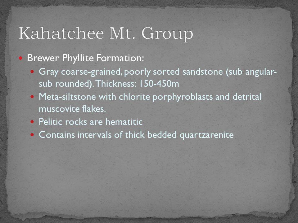 Wash Creek Slate: Carbonaceous phyllite and fine grain sandstone.