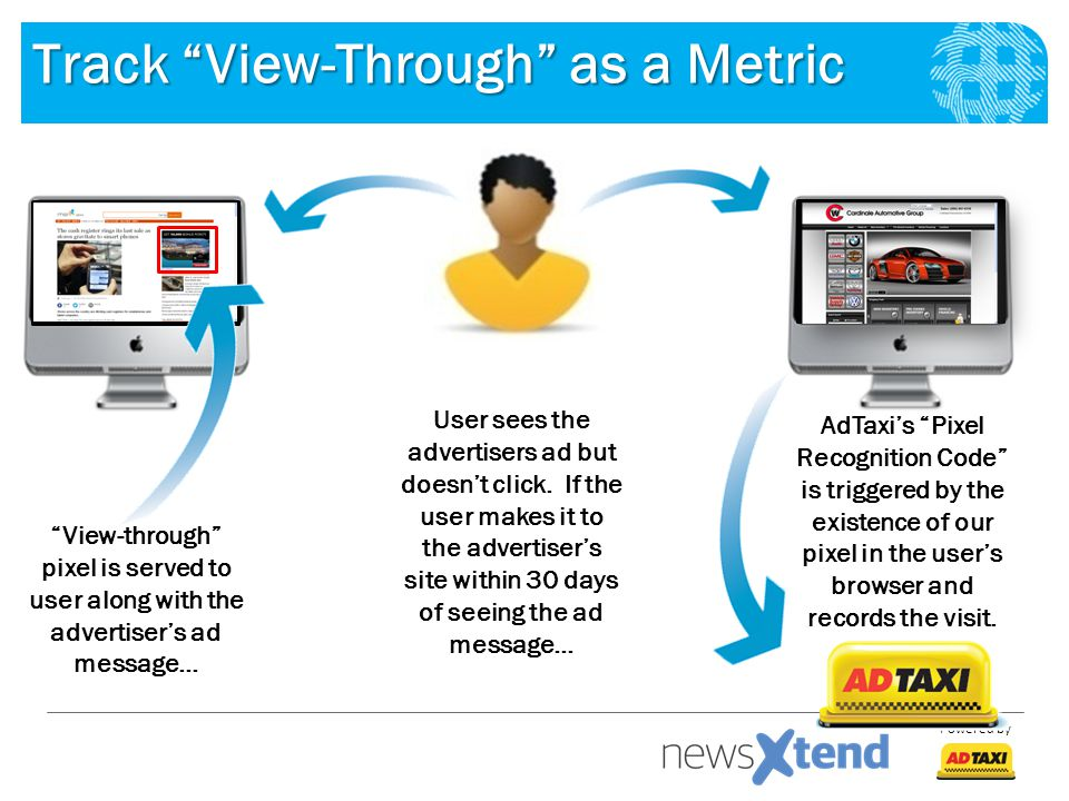 Powered by Track View-Through as a Metric View-through pixel is served to user along with the advertiser's ad message… AdTaxi's Pixel Recognition Code is triggered by the existence of our pixel in the user's browser and records the visit.