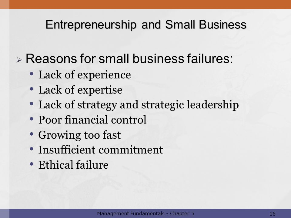 16 Management Fundamentals - Chapter 5  Reasons for small business failures: Lack of experience Lack of expertise Lack of strategy and strategic lead