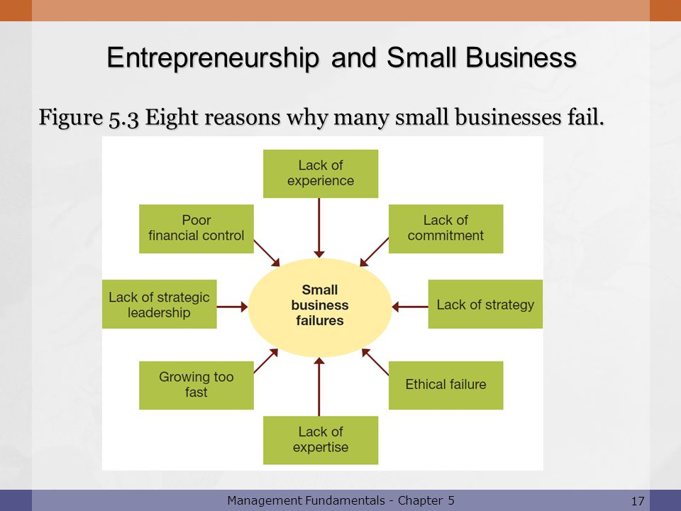 17 Management Fundamentals - Chapter 5 Figure 5.3 Eight reasons why many small businesses fail. 17 Entrepreneurship and Small Business