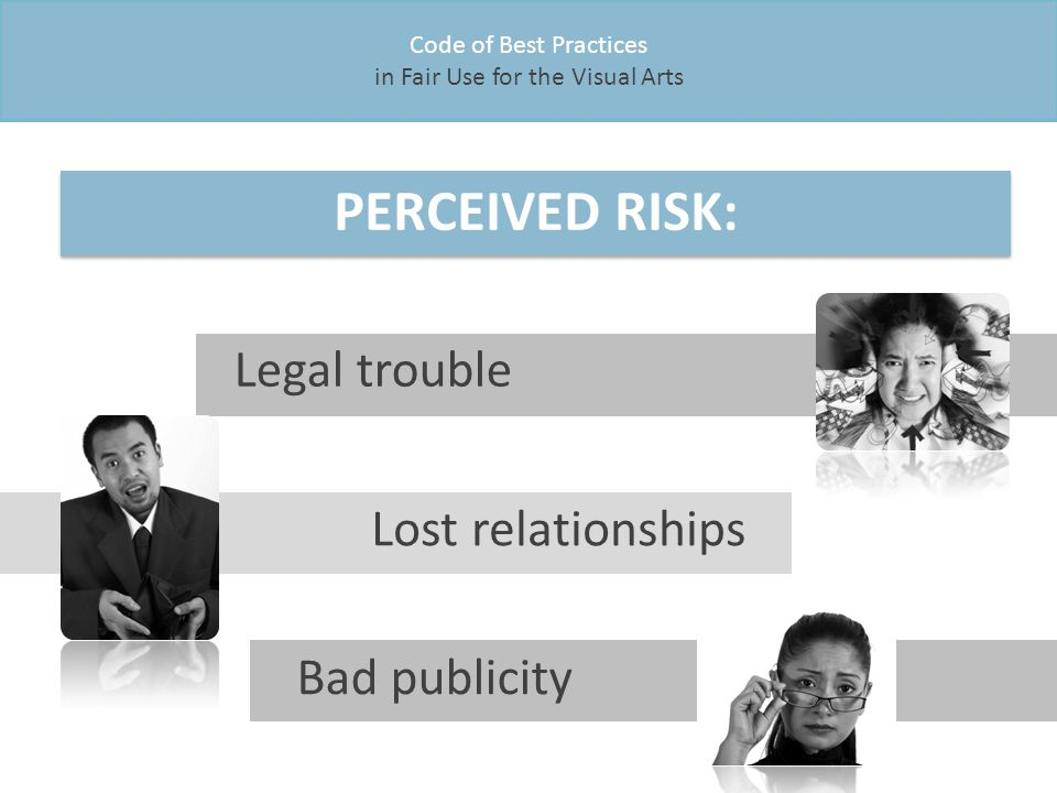 Code of Best Practices in Fair Use for the Visual Arts PERCEIVED RISK: Legal trouble Lost relationships Bad publicity