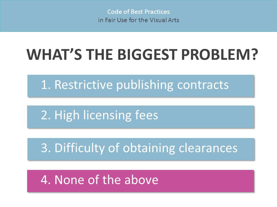 Code of Best Practices in Fair Use for the Visual Arts WHAT'S THE BIGGEST PROBLEM.
