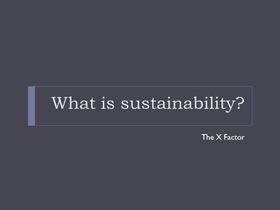 What is sustainability? The X Factor