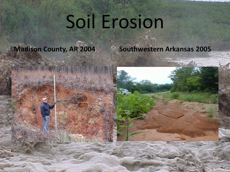 Soil Erosion Madison County, AR 2004Southwestern Arkansas 2005