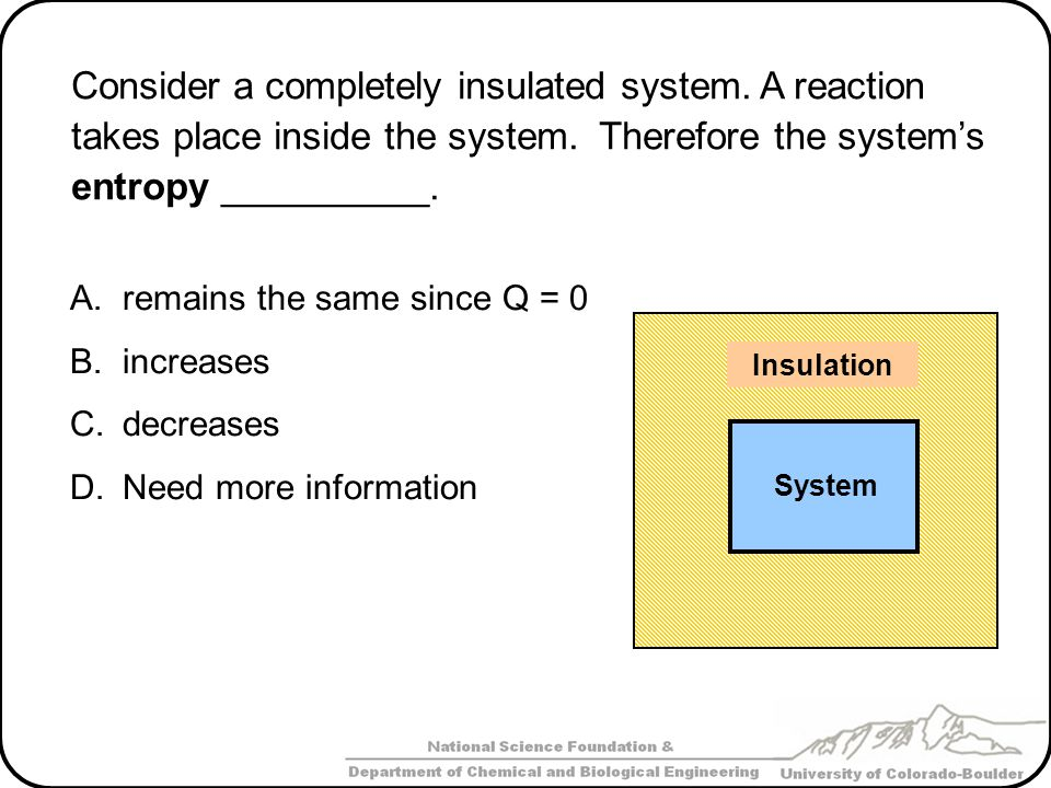 Consider a completely insulated system.A reaction takes place inside the system.