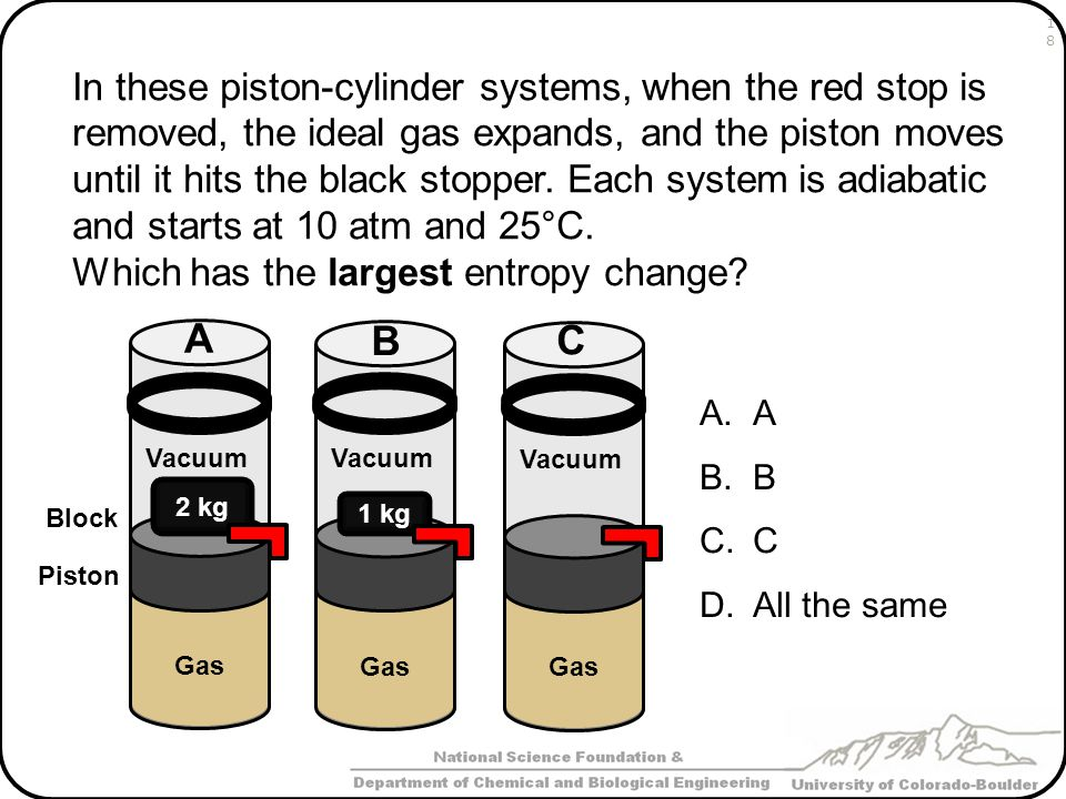 In these piston-cylinder systems, when the red stop is removed, the ideal gas expands, and the piston moves until it hits the black stopper. Each syst