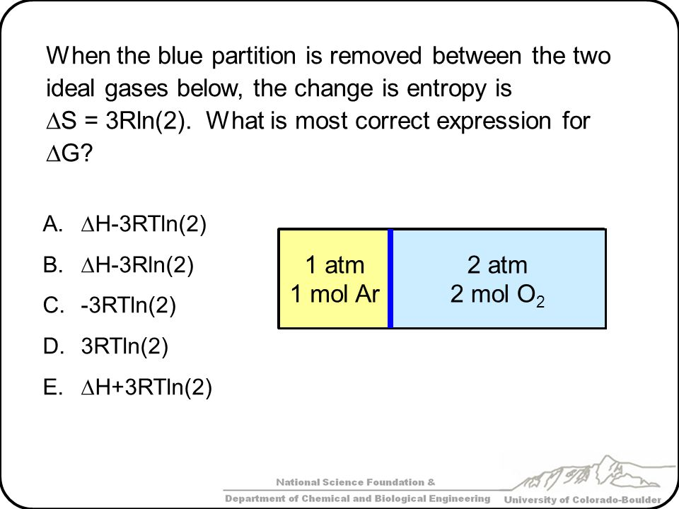 When the blue partition is removed between the two ideal gases below, the change is entropy is  S = 3Rln(2).