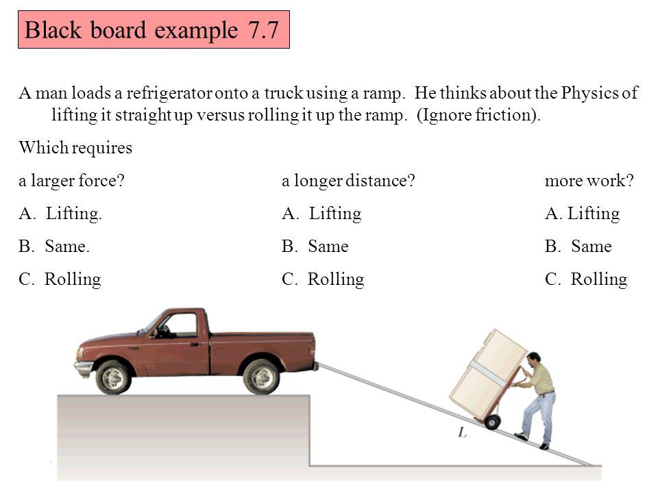 A man loads a refrigerator onto a truck using a ramp.