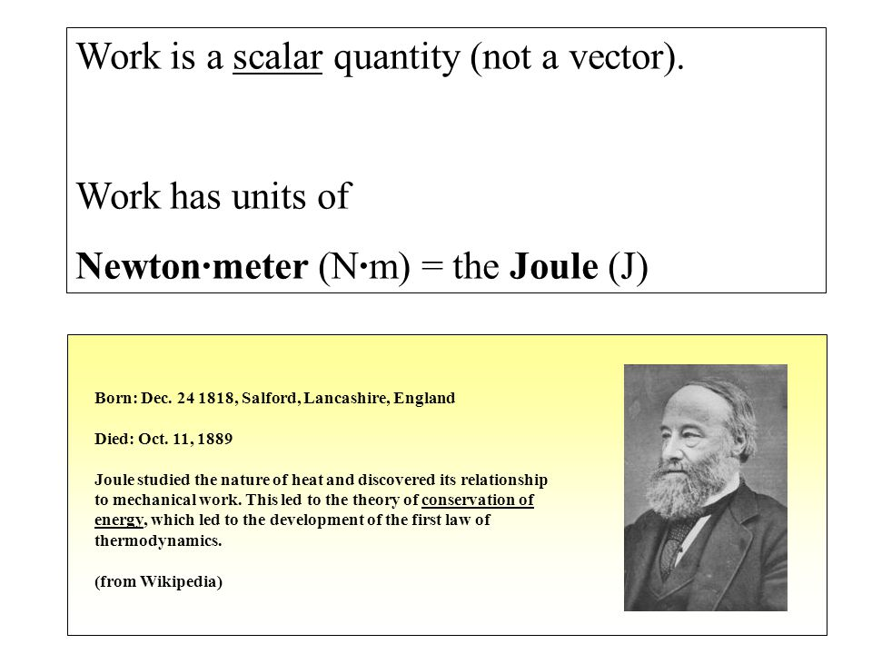 Work is a scalar quantity (not a vector).