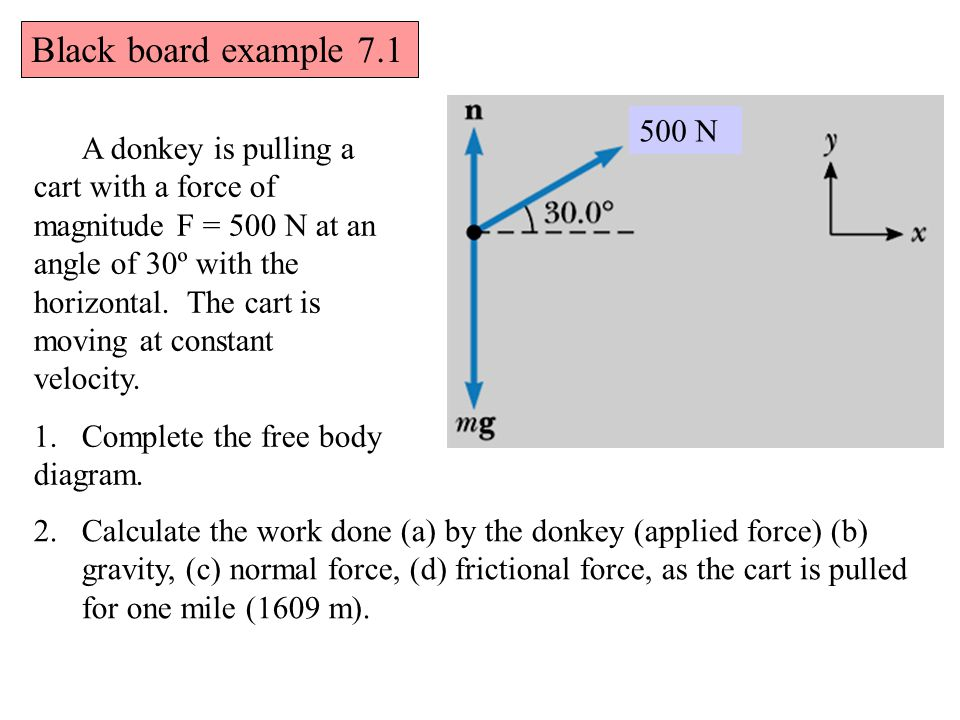 Black board example 7.1 A donkey is pulling a cart with a force of magnitude F = 500 N at an angle of 30º with the horizontal.