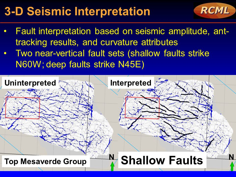 3-D Seismic Interpretation Fault interpretation based on seismic amplitude, ant- tracking results, and curvature attributes Two near-vertical fault se