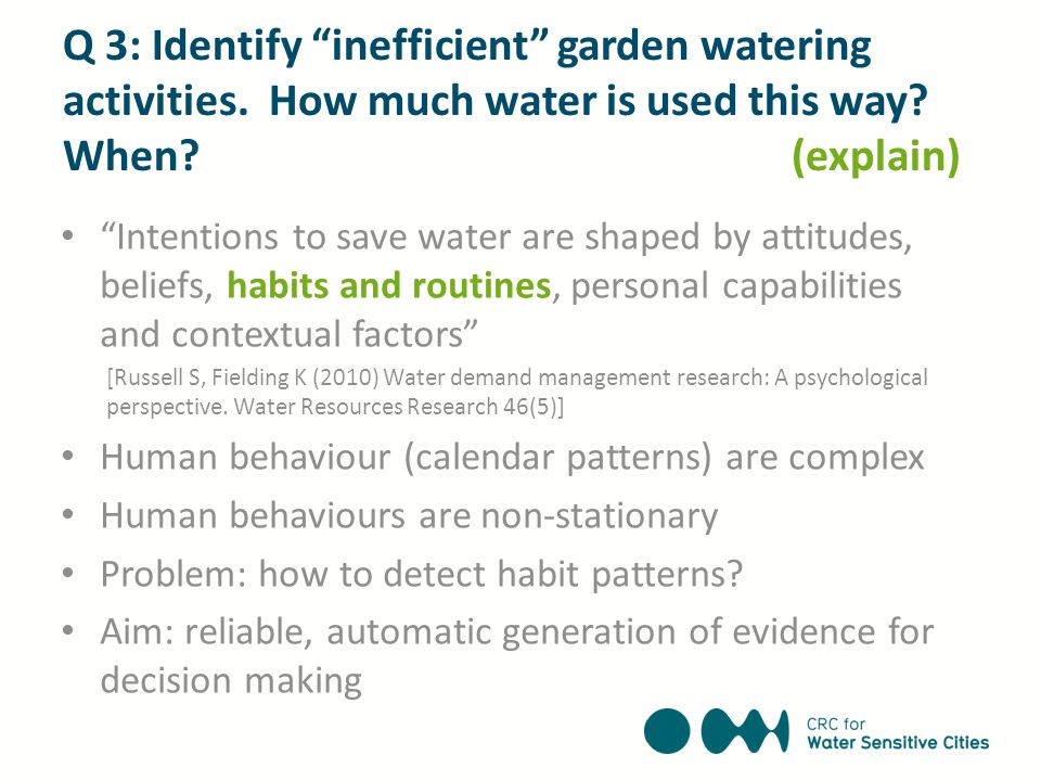"Q 3: Identify ""inefficient"" garden watering activities. How much water is used this way? When? (explain) ""Intentions to save water are shaped by attit"