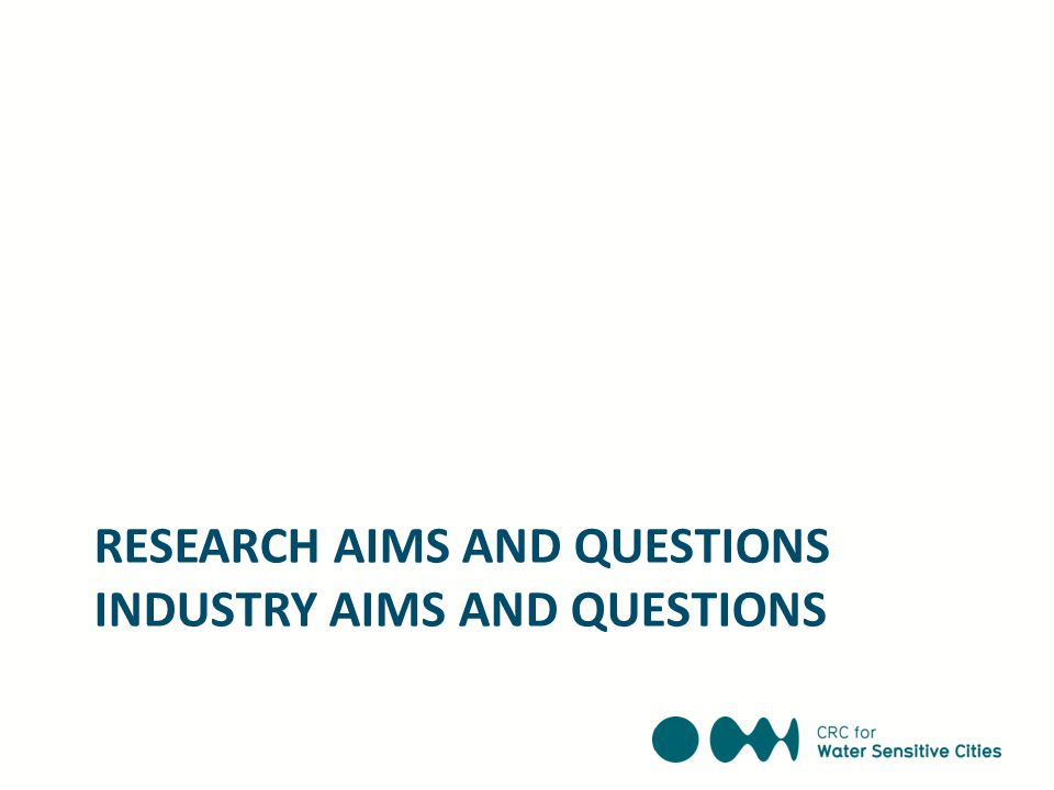 RESEARCH AIMS AND QUESTIONS INDUSTRY AIMS AND QUESTIONS