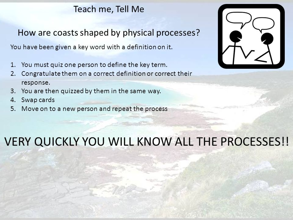 Teach me, Tell Me How are coasts shaped by physical processes.