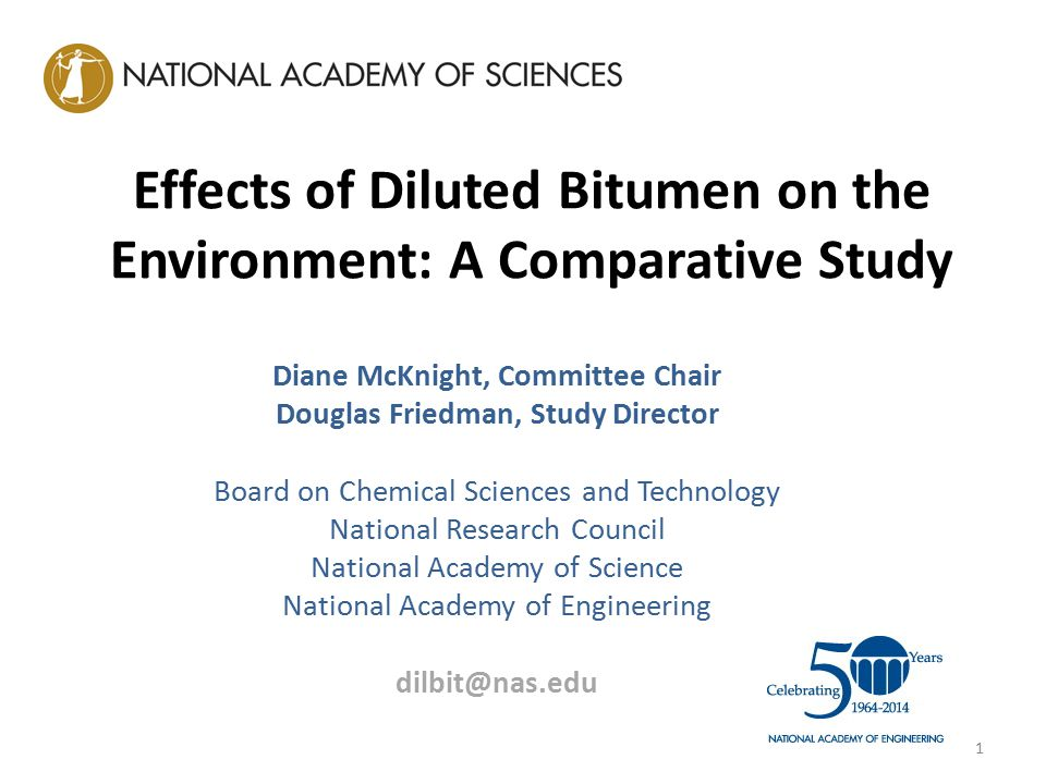 Effects of Diluted Bitumen on the Environment: A Comparative Study Diane McKnight, Committee Chair Douglas Friedman, Study Director Board on Chemical Sciences and Technology National Research Council National Academy of Science National Academy of Engineering dilbit@nas.edu 1