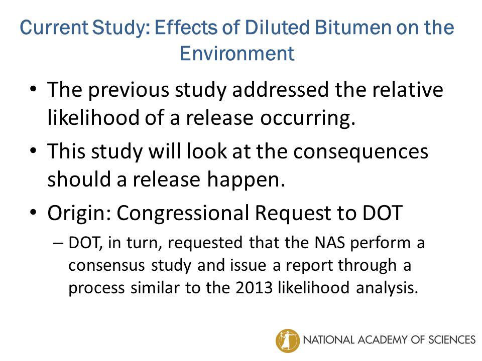 An ad hoc committee will analyze whether the properties of diluted bitumen differ sufficiently from those of other crude oils commonly transported in U.S.